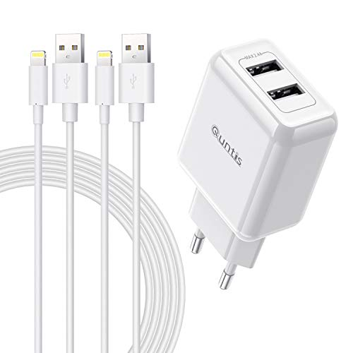 Quntis 12W 2 Porte Caricatore iPhone + 2 Pezzi 2m Cavo iPhone, [Certificato MFi] Caricabatterie USB e cavo Lightning per iPhone SE 2020 XS Max XR X 8 Plus 7 Plus 6s 6 Plus 5s 5c SE iPad Airpods