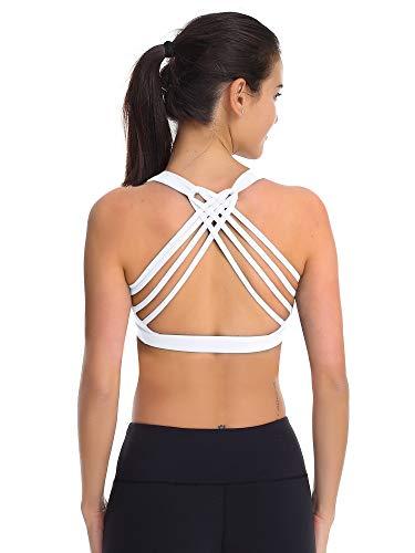 Zeronic Women's Padded Sports Bra Cross Back Removable Cups Workout Clothes Yoga Sports Bras(White,XXL)