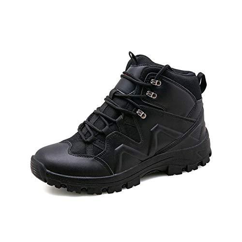 HaoLin Tactical Desert Combat Botines Zapatos De Trabajo del Ejército Botas De Nieve Botas Militares De Invierno para Hombres + Plantillas,Black-44
