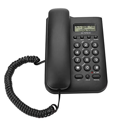 Schnurgebundenes Telefon klassisches Schnurtelefon mit Automatische Identifikation des DTMF / FSK-Dualsystems, Wahlwiederholung, Rufnummernanzeige und Echtzeit-Datums- und Wochenanzeige (schwarz)
