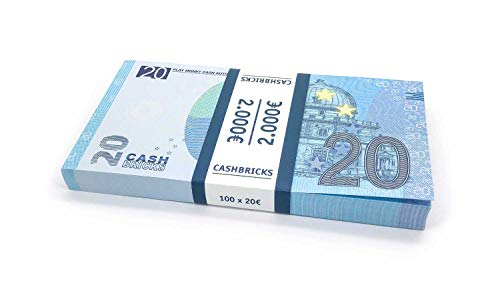 Cashbricks® 100 x €20 Euro Dinero de Juguete