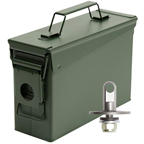 Aolamegs .30 Caliber Tactical Steel Ammo Can M19A1,Air Tight & Waterproof Box-Stackable Design,Lockable with Locking Hardware kit (Need Drilling) OD Green