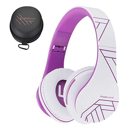 PowerLocus Bluetooth Over-Ear Headphones, Wireless Stereo Foldable Headphones Wireless and Wired Headsets with Built-in Mic, Micro SD/TF, FM for iPhone/Samsung/iPad/PC (Violet)