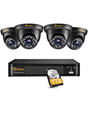 Anlapus 5MP Outdoor Security Camera System, 8CH 5MP Surveillance DVR 1TB Hard Drive Pre-Installed, 4x 5.0MP Weatherproof Dome CCTV Camera, Instant Motion Alert, HDMI/VGA Output