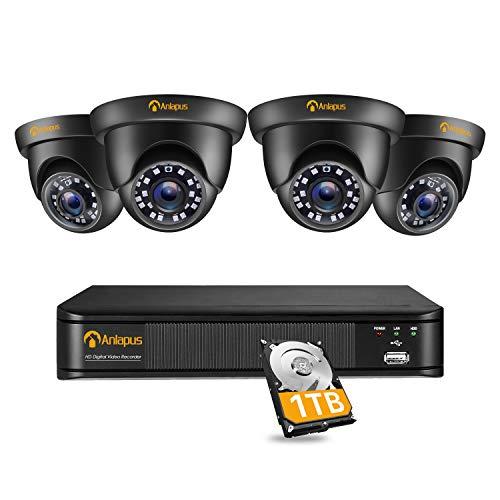 Anlapus CCTV Kit de Cámaras de Vigilancia Exterior 8CH 2MP H.265+ DVR con (4) Cámara de Seguridad, IR Visión Nocturna, Alarma de Movimiento, 1TB Disco Duro