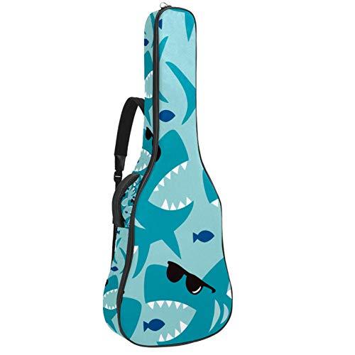 Bennigiry Cool Blue Shark con gafas de sol negras bolsa de guitarra guitarra acústica bolsa de concierto guitarras llevar caso para guitarrista