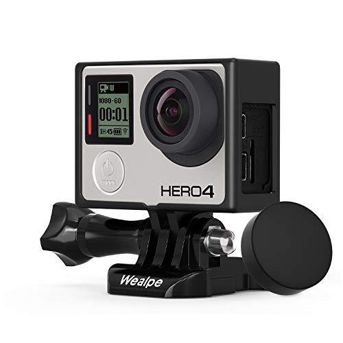 Wealpe Rahmen Gehäuse Schutzgehäuse Rahmenhalterung mit Objektivkappe Kompatibel mit GoPro Hero 4, 3+, 3 Kameras