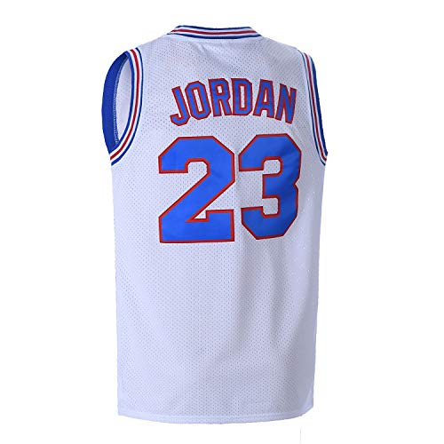 OTHERCRAZY Mens Basketball Jersey 23# Space Movie Jersey S-XXL White/Black/Blue (White, Medium)