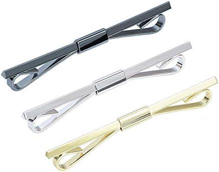 VVCome 3PCS Men s Classic Tie Clips Shirt Collar Clip Collar Bar for Necktie Gold Silver Black product image