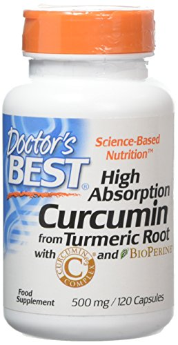Doctor's Best Curcumin From Turmeric Root, Non-GMO, Gluten Free, Soy Free, Joint support, 500 mg Caps with C3 Complex & BioPerine, 120 Capsules