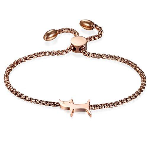 Jewelrywe bracelet femme argenté, bracelet de chat, chaton acier inoxydable, bracelet de monnaie...