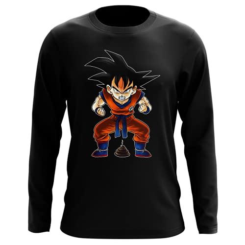 Okiwoki T-Shirt Manches Longues Noir Parodie Dragon Ball Z - DBZ - Sangoku - Super Caca - Vol.1 (T-Shirt de qualité Premium de Taille L - imprimé en France)