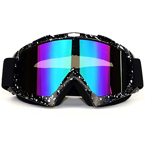 ADCGank Motorcycle Goggles Dirt Bike Motocross ATV Goggles Off Road Goggles MX Anti UV Ski Fit Over Glasses Tear Off for Man Women Youth Adult Black White