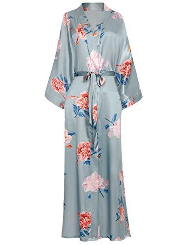 ArtiDeco - Bata larga de seda para mujer, estilo kimono, con estampado de flores, albornoz para mujer, largo 135 cm de largo gris plateado Tallaúnica