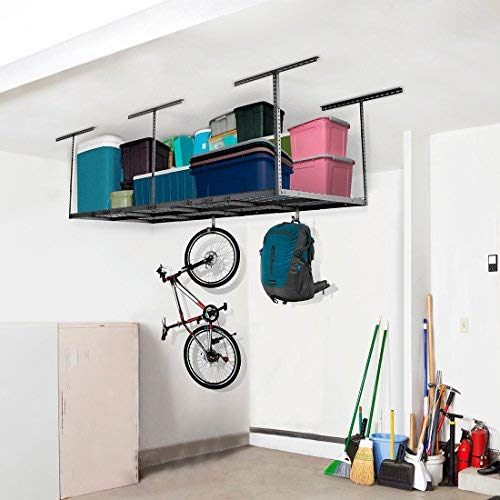 "FLEXIMOUNTS 2-piece 3x8 ft Overhead Garage Storage Racks Set Ceiling Storage Racks Adjustable Heavy Duty, 96"" Length x 36"" Width x 40"" Height (Black)"