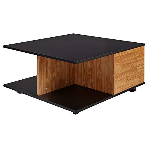 FineBuy Design Couchtisch 70x70 cm Anthrazit/Sandeiche | Wohnzimmertisch mit 2 Schubladen | Sofatisch mit Rollen |Tisch mit 2 Fächern