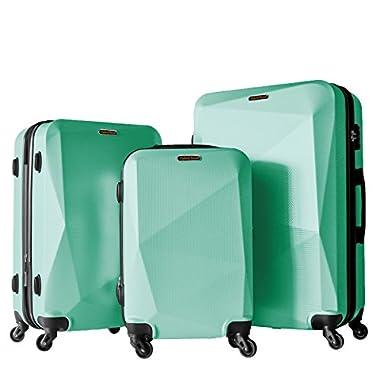 3 PC Luggage Set Durable Lightweight Hard Case Spinner Suitecase LUG3 HD1629 GREEN