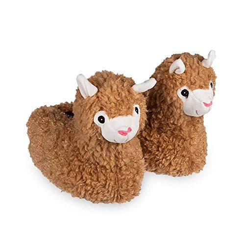 mikamax – Alpaca Slippers – Alpaka Pantoffeln – Bequeme Fußwärmer –– Größe 37-43 – Hellbraun – Flauschige Tierrutschen – 30 x 20 x 22 cm – Lama-Pantoffeln – Alpaka Geschenke