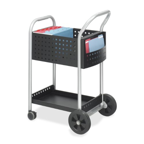 Safco Products Scoot Legal Size Mail Cart 5238BL Black, Swivel Wheels