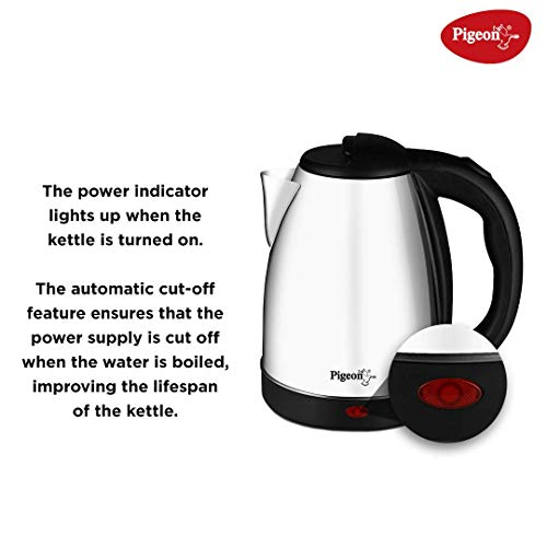 Pigeon by Stovekraft Amaze Plus Electric Kettle with Stainless Steel Body, 1.5 litres boiler for Water, instant noodles, soup etc. 3