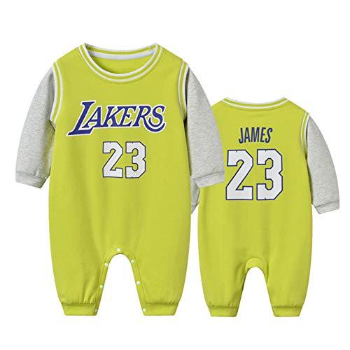 DHRBK Baby Boy Romper Onesies Manga Larga NBA Lebron James 23 Winter Warm Outfits Niños Niñas Mono Body para 0-24 Meses