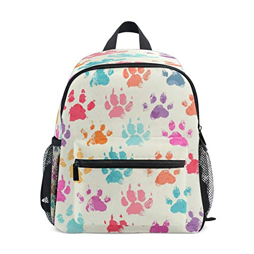 RXYY Kids Backpacks Colorful Dog Paw Print Shoulder Travel Toddler Preschool School Bag Casual Backpack with Chest Strap for Girls Boys