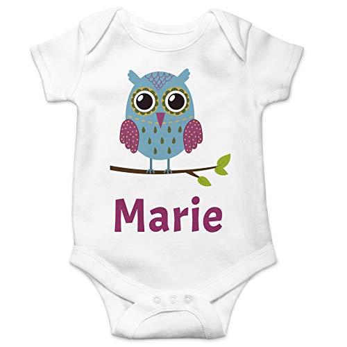 schenke-freude.de Individueller Baby-Body Eule für Mädchen personalisiert mit Namen