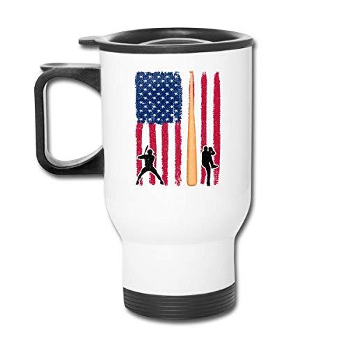 Lanzador de béisbol Batter American Flag1 Vaso republicano - Vaso con doble aislamiento - Taza de café de 30 onzas para automóvil, viajes, trabajo