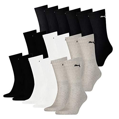PUMA 18 Paar Socken Cush Crew Sportsocken Tennis Socken Unisex, Farbe:schwarz - weiß - grau, Socken und Strümpfe:43-46