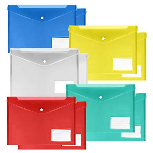 10 Pack Plastic Envelopes Poly Envelopes,Transparent Waterproof Document Folders US Letter A4 Size File Envelopes with Label Pocket, Snap Button for School Home Work Office, Assorted Color