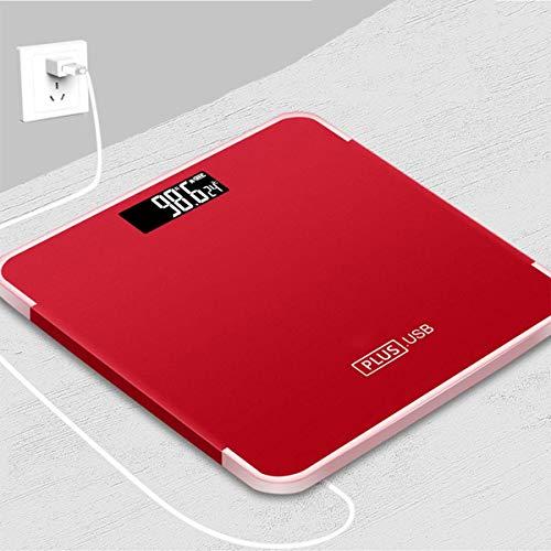JFFFFWI Básculas de baño Weight Watchers, Báscula Digital de Peso Corporal Báscula electrónica de Grasa Corporal Ultra Delgada, Extra Ancha, Alta precisión, con Cable de Carga USB, Rojo
