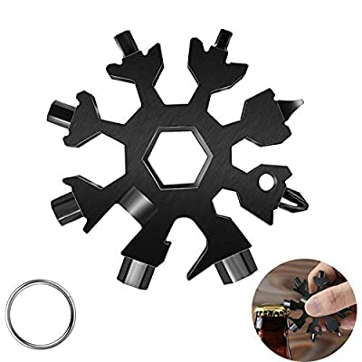 18-in-1 Snow-flake Multi-Tool,Stainless Steel Snow Multitool Bottle Opener/Flat Phillips Screwdriver Kit/Wrench/Keychain Gadgets for Outdoor Travel Camping Daily Tool,Great Christmas GiftS (Black1)