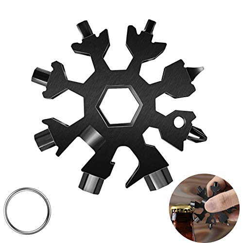 18-in-1 Snow-flake Multi-Tool,Stainless Steel Snow Multitool Bottle Opener/Flat Phillips Screwdriver Kit/Wrench/Keychain Gadgets for Outdoor Travel Camping Daily Tool,Great Christmas GiftS (Black)