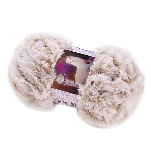 FUCHU Knitting Yarn, 50g/Ball DIY Fluffy Plush Chunky Thick Knitting Yarn Multicolor Hand-Woven Crochet Velvet Thread for Baby Warm Hat Scarf