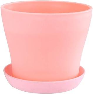 Plastic Flower Pots Succulents Bonsai Pots Planted Garden Ceramic flowerpot (Color : Pink)