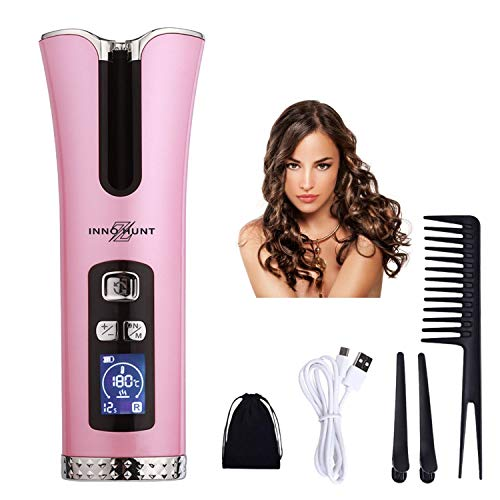 Inno-Huntz Automatic Curling Iron – Cordless Iron for Hair Styling – Portable Hair Curler – Hair Curling Wand with 4 Time and 3 Settings – Christmas for Her (Pink)