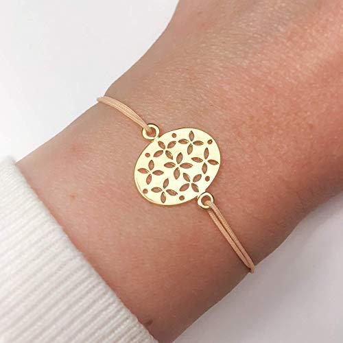 KAAYAH Damen-Armband mit verstellbarem Textilband mit goldenem Charm, Blume des Lebens Freundschafts-Armband
