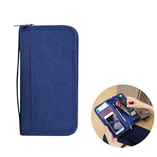 WINOMO Capa para passaporte com bloqueio de RFID de poliéster carteira de viagem multifuncional carteira de cartão de crédito documentos 9,3 4,9 3 cm (azul escuro)