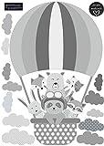 greenluup Öko Wandsticker Heißluftballon Grau Tiere Waldtiere Wolken Kinderzimmer Mädchen Jungen Babyzimmer Wanddeko (WB13)