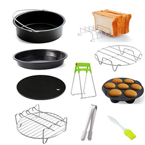 1 juego de accesorios antiadherentes para freidora de aire, bandeja para pasteles de 6/7/8 pulgadas/bandeja pizza/parrilla para tostadas/parrilla para vapor/almohadilla aislante, accesorios de cocina