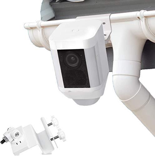 Wasserstein wetterfeste Regenrinnenhalterung kompatibel mit Ring Spotlight Batterie Kamera mit Universal Schraubenadapter - Bessere Platzierung für besseren Schutz (weiß)