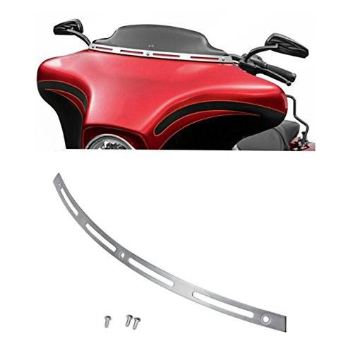 INNOGLOW Motorcycle Windshield Windscreen Trim Polished Stainless Steel Batwing Fairing Fits for 1996-2013 Harley Electra Street Glide Touring Bike