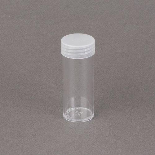 (10) Edgar Marcus Brand Round Clear Plastic (Quarter) Size Coin Storage Tube Holders with Screw on Lid