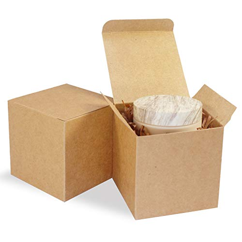 Small Kraft Gift Boxes 100pcs for Gift Giving 3x3x3 in,Brown Paper Treat Box with lid for Bridesmaid Proposal/Christmas,Easy Assemble Cube Favor Box for Birthday Party,Mini Cardboard Box for Wedding