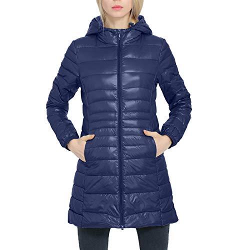 Yazidan - Chaqueta de invierno para mujer, con cremallera completa, manga larga, ligera, con capucha, abrigo de invierno marine 7XL