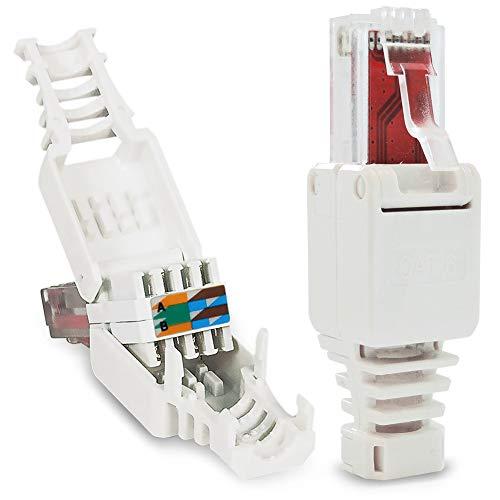 UC-Express 2X Netzwerkstecker werkzeuglos RJ45 CAT6 LAN UTP Kabel Stecker ohne Werkzeug werkzeugfrei CAT5 CAT7 Verlegekabel Patchkabel Netzwerkkabel Toolless Modular Plug Connector Crimpstecker