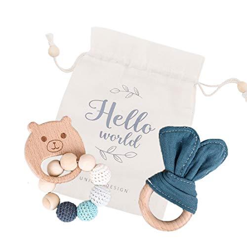 Mamimami Home 2pc Baby Beißring Bunny Ahorn Holz Bio Ringe Häkeln Perlen DIY Schmuck Handgefertigte Armband Kinderkrankheiten Spielzeug Baby Dusche Geschenk(Blau)