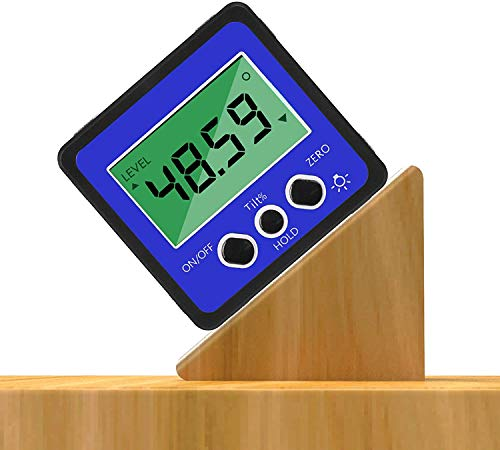 iFCOW Transportador de inclinómetro digital, impermeable, preciso, 4 x 90 °, buscador de ángulos, medidor biselado con base magnética y retroiluminación