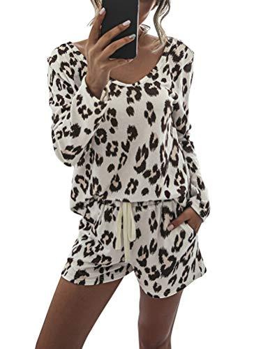 Minetom Damen Schlafanzug Kurz Sommer Pyjama Nachtwäsche Langarm Rund Ausschnitt Leopardenmuster Schlafshirt Kordelzug Shorts Zweiteiliger A Leopard S