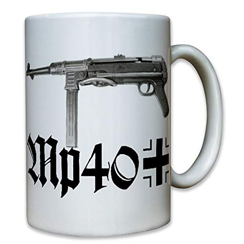 Copytec MP40WH Arma eléctrica Pistola WK 9mm Deko Soldado Grupo Líder Mili taria Militar–Taza de café Taza # 8059